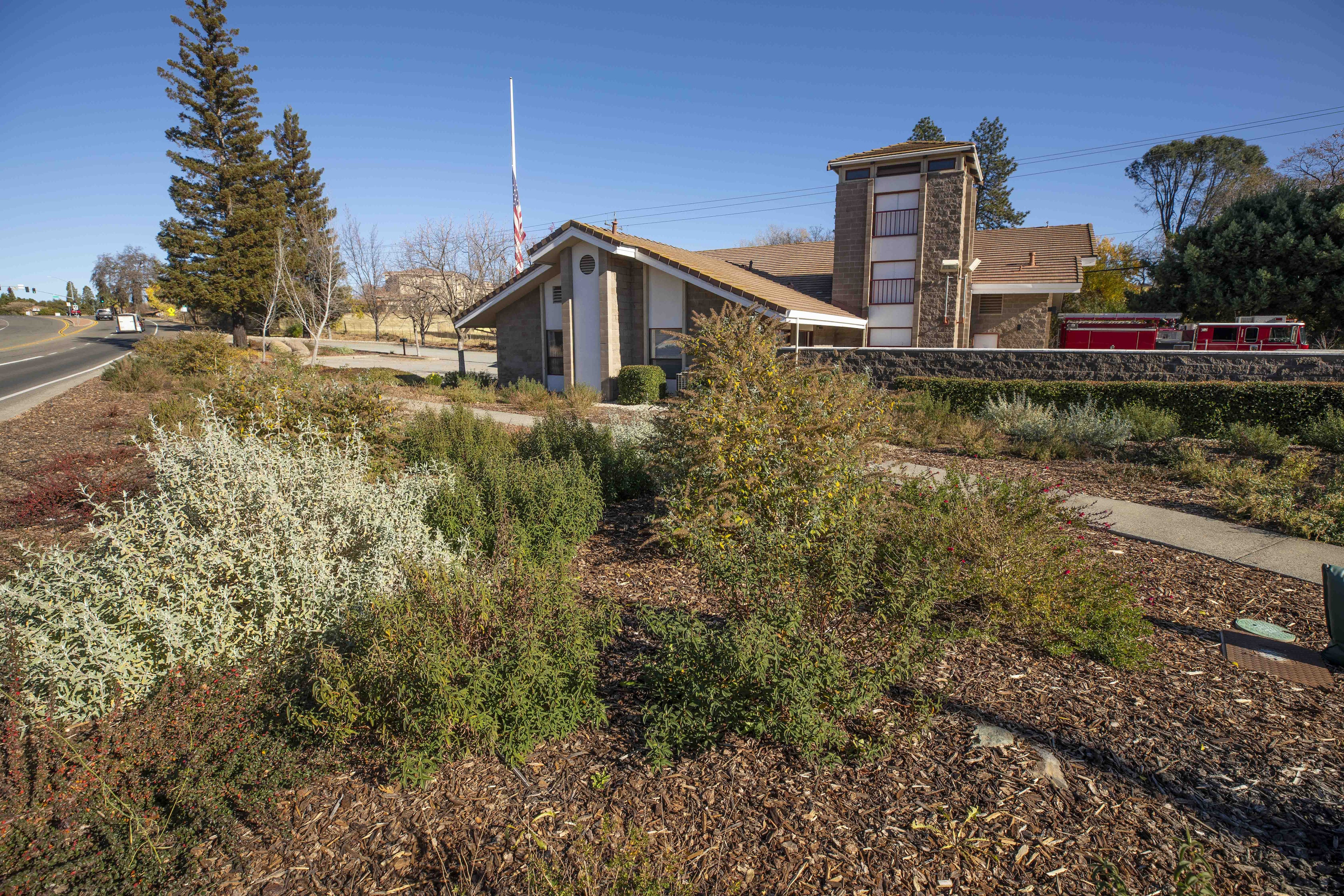 Photo of Maidu Fire Station landscaped with fire-wise and water-wise plants