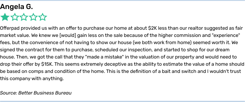 Angela G. 1 star. Offerpad provided us with an offer to purchase our home at about $2K less than our realtor suggested as fair market value. We knew we would gain less on the sale because of the higher commission and