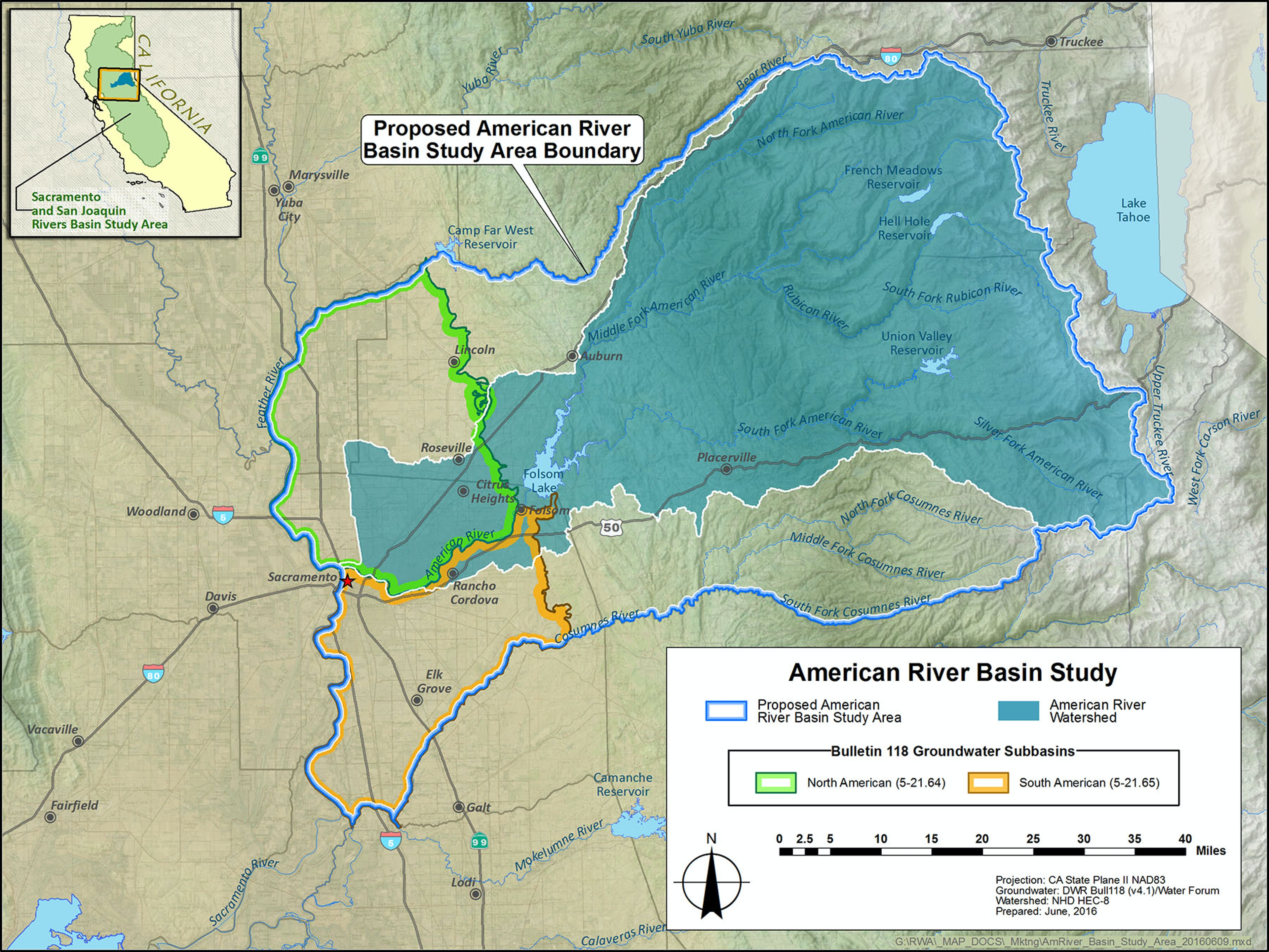 Map of American River Basin Study Area