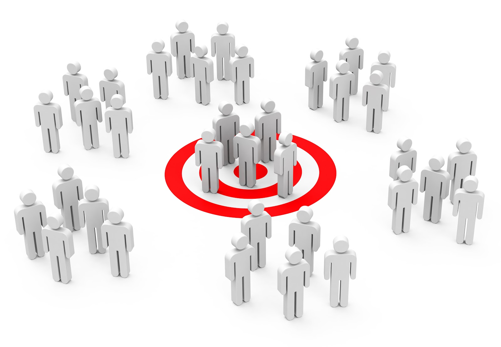 Sales cycle: Groups of people icons on a bullseye