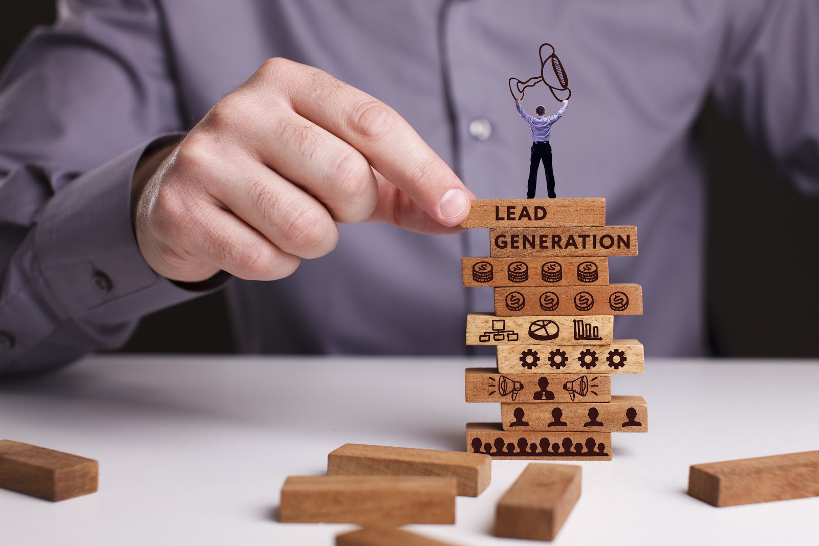 Stack of blocks showing lead generation strategies