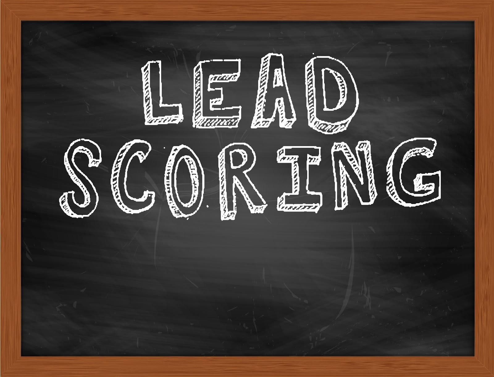 """lead generation services: """"lead scoring"""" on chalkboard"""