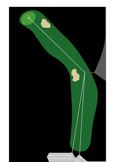 Golf Dogleg Left Hole Illistration