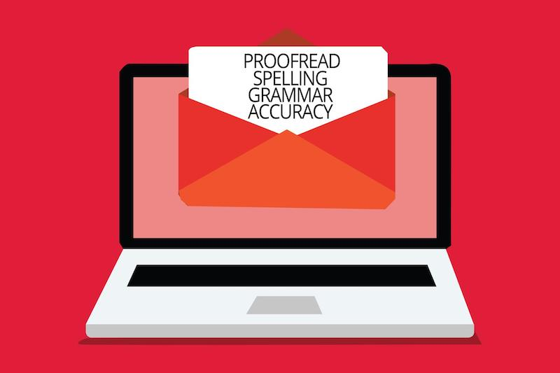 Email subject lines: Note on laptop screen showing proofread spelling grammar accuracy