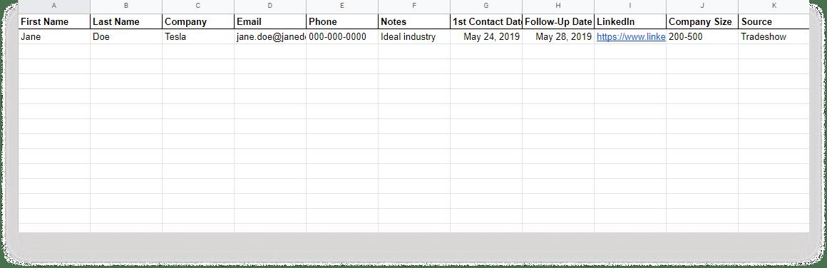 prospect list template spreadsheet