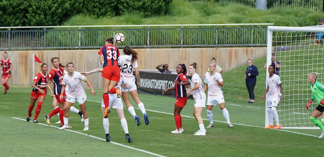 Corner kick action during women's soccer match
