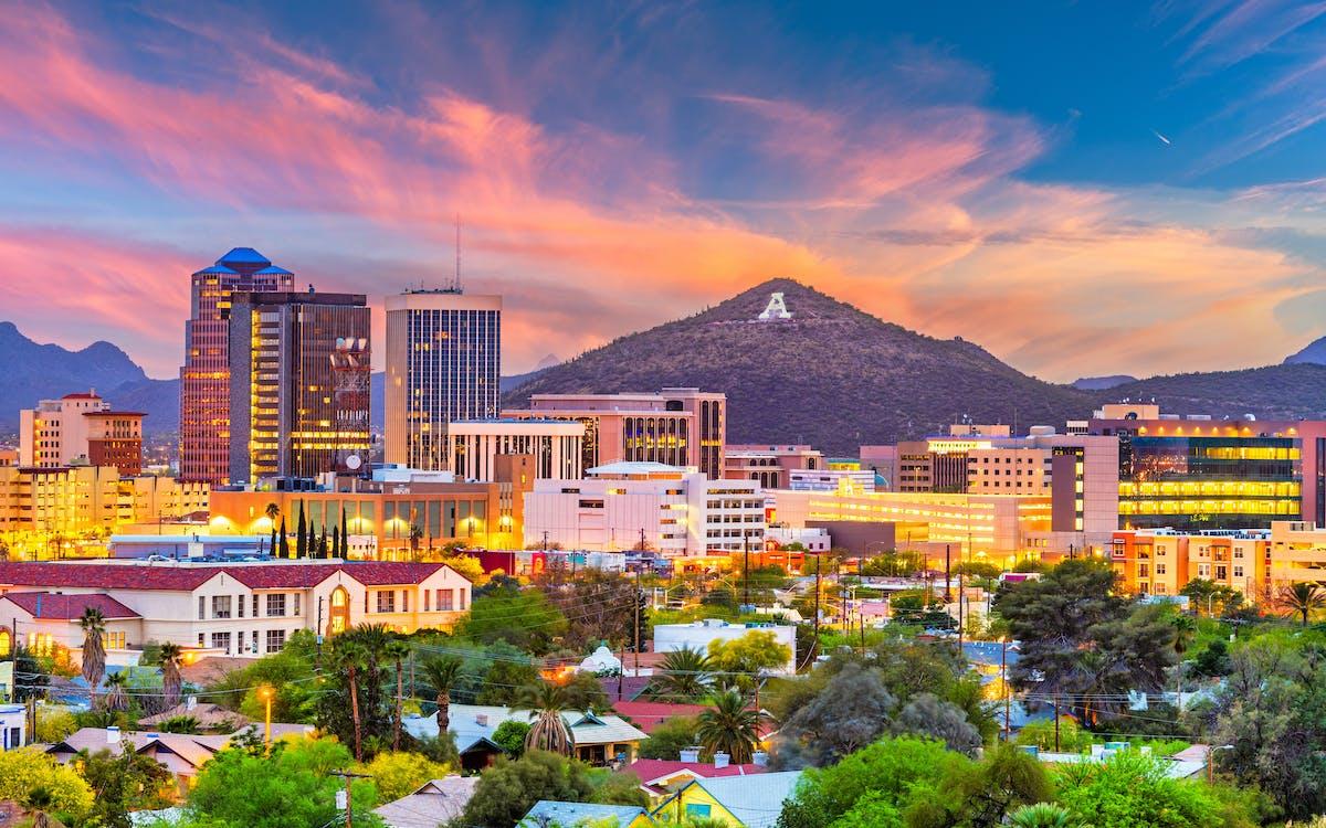 Tucson Arizona in the evening