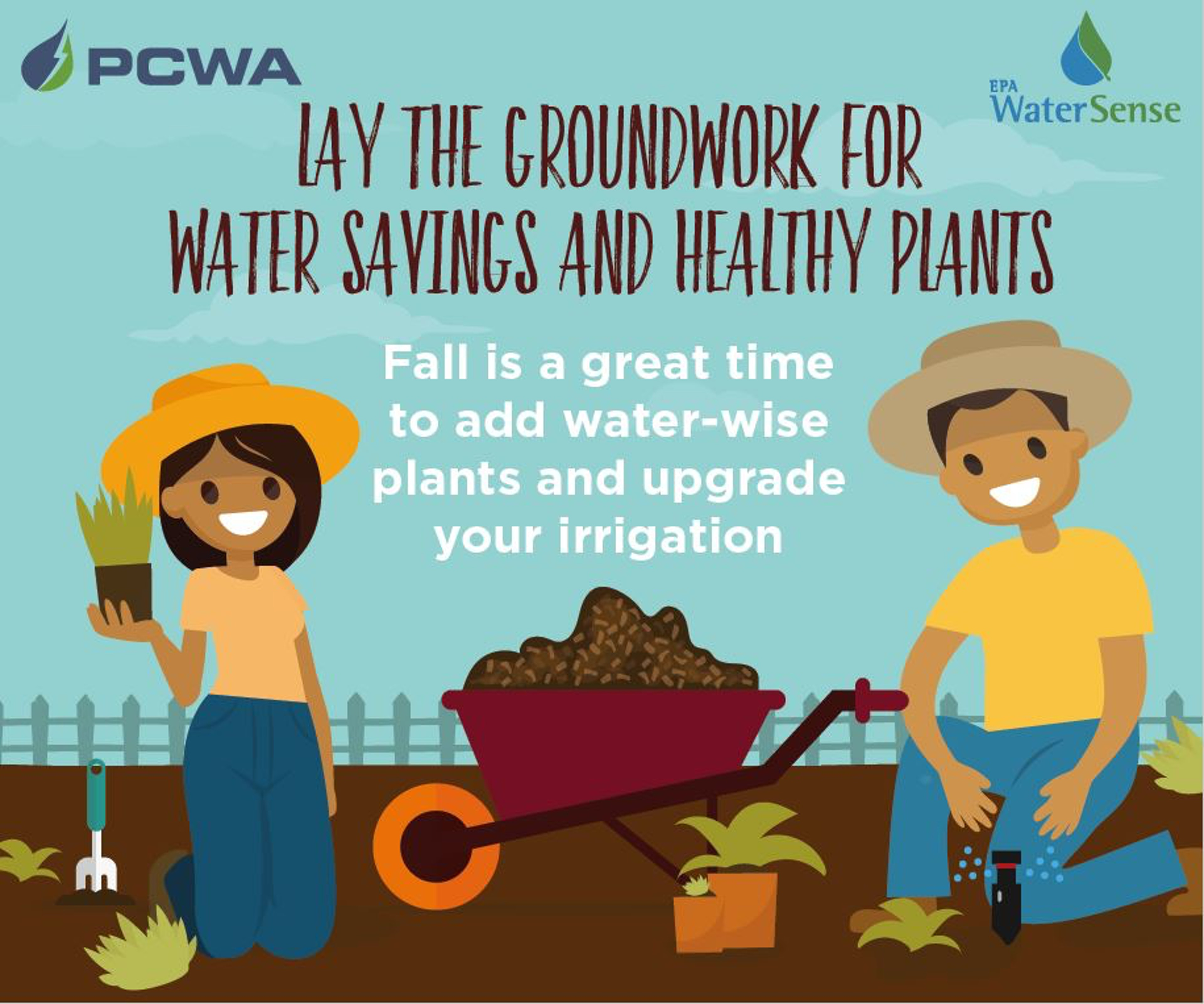 Lay the ground work for water saving and healthy plants. Fall is a great time to add water-wise plants and upgrade your irrigation.
