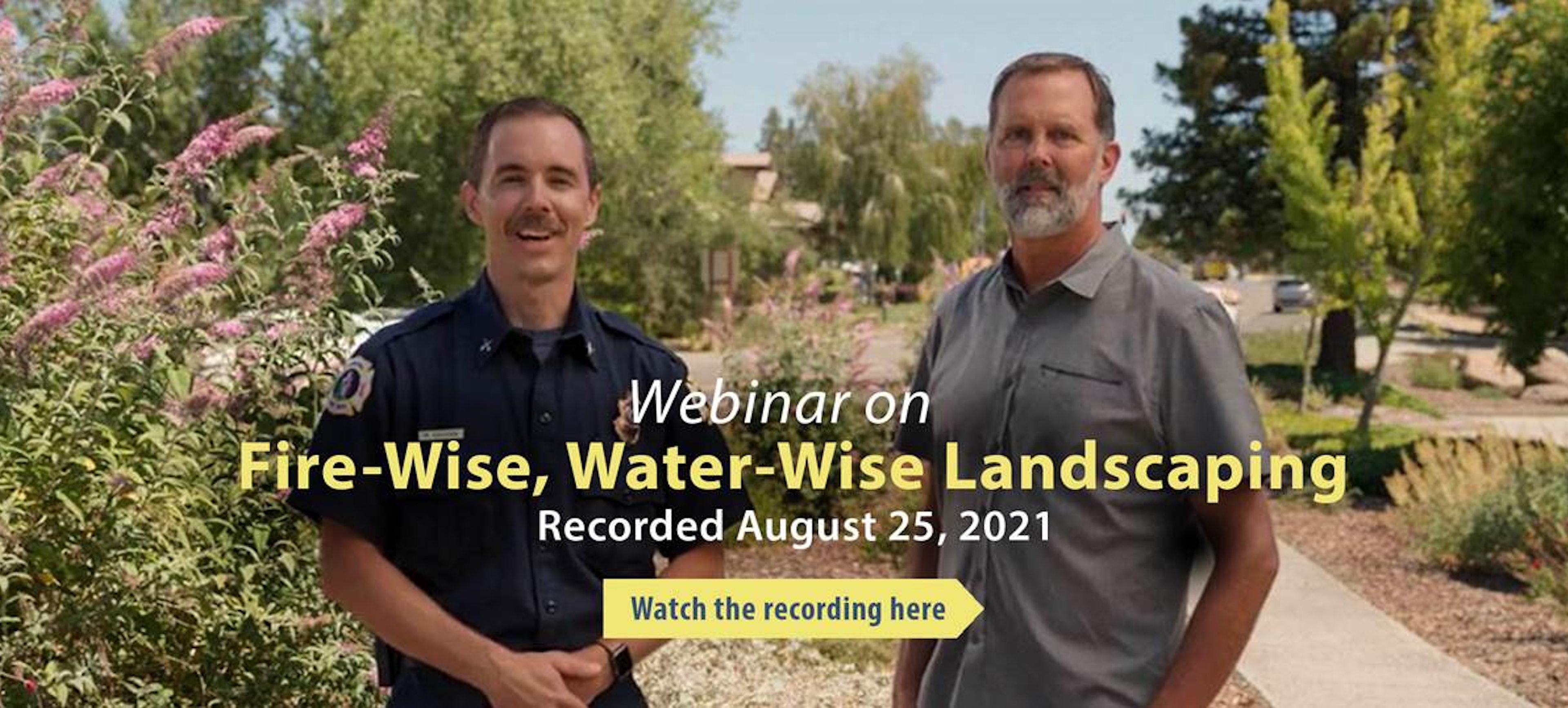 Fire-wise, water-wise landscaping webinar flier
