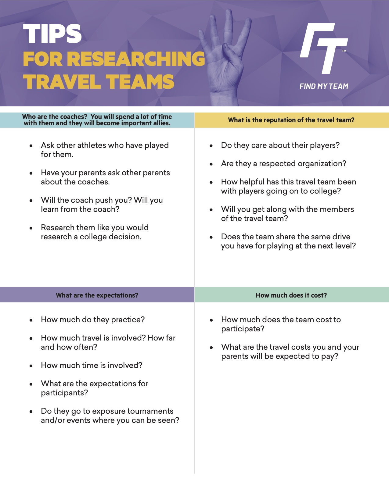 Tips for researching travel teams guide