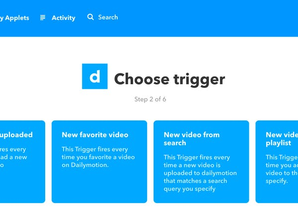 How to make an IFTTT applet that sends an email each time a specific new video is found on Dailymotion?