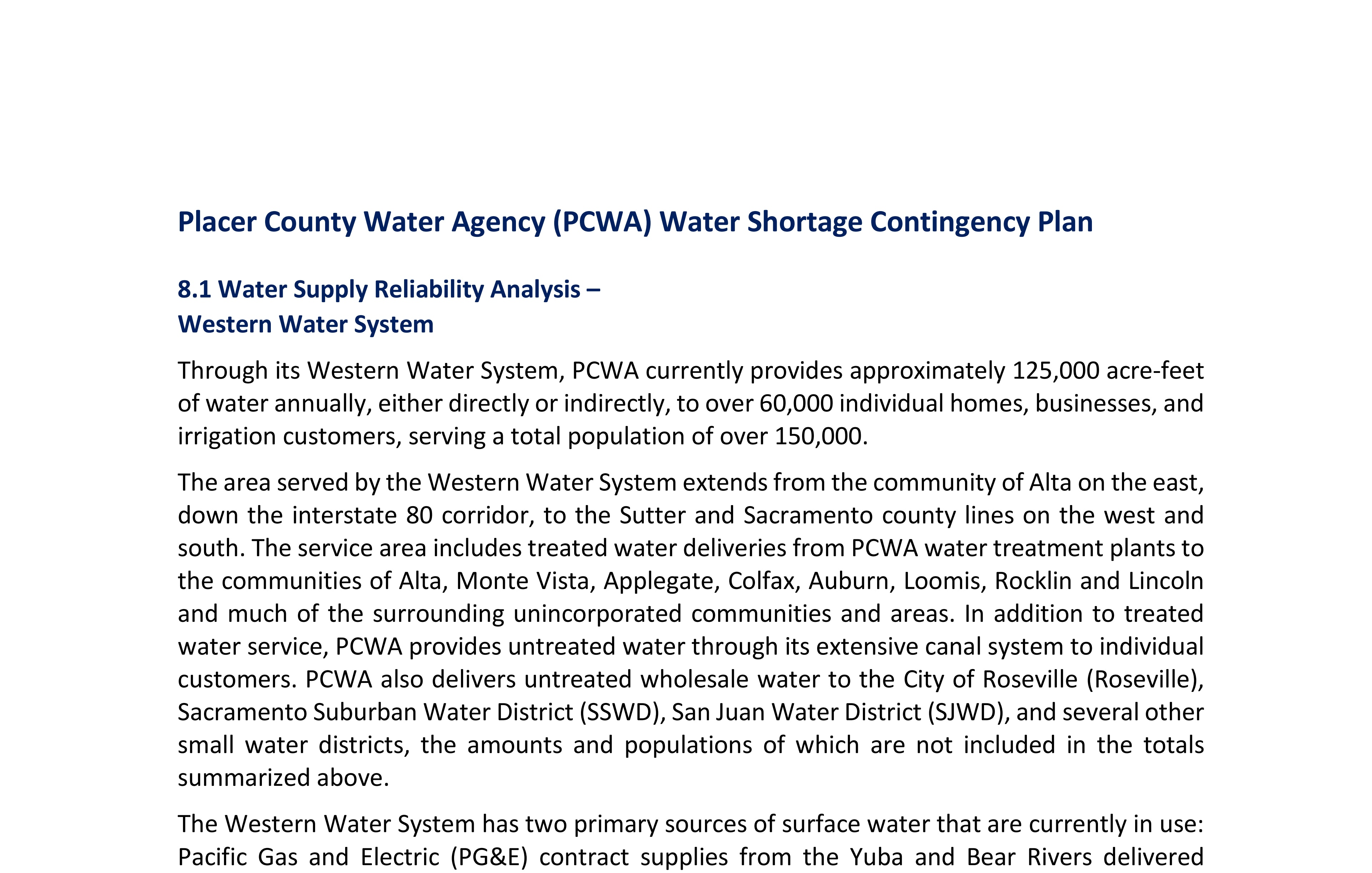 Thumbnail and link for PCWA Water Shortage Contingency Plan, final draft
